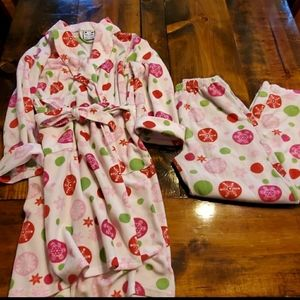 🔴Snowflakes red green Girl's Large robe & pants